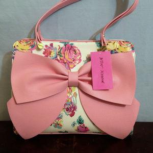 NWT Betsey Johnson Pink Bow Regard Floral Satchel